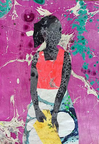 """Mohamed Alba, """"The Princess"""", 2016-2017, mixed media on canvas, courtesy of the artist"""