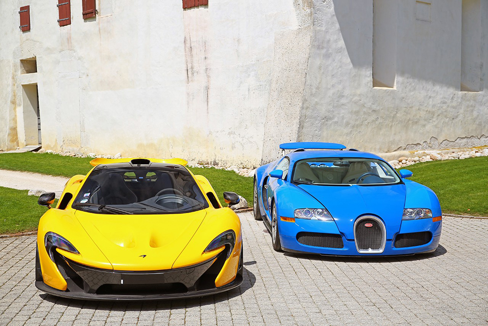 McLaren P1 and Bugatti Veyron 16.4