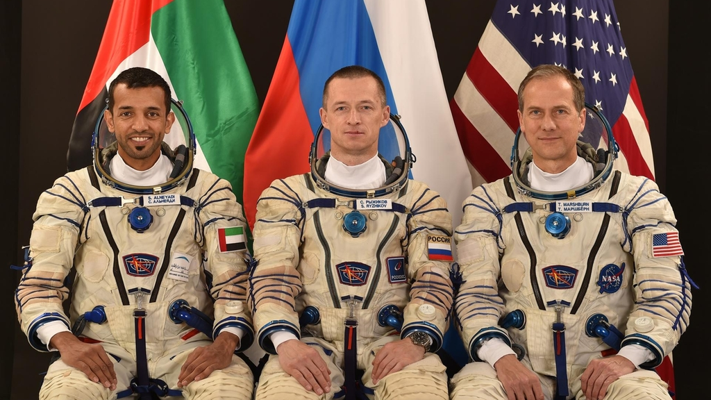 The back-up crew: Emirati astronaut Sultan Al Neyadi, Russian flight commander of Roscosmos Sergei Nikolaevich, and American Nasa astronaut Thomas Henry.