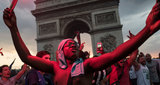 French supporters celebrates Frances victory against Croatia in 2018 World Cup final in Place de lEtoile on July 15 2018 in PARIS France