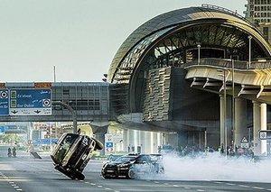 Rally driving through the Dubai streets