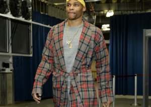 Russel Westbrook wears most expensive bathrobe ever