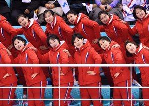 Gaze in awe at the North Korean Olympic cheer leading squad