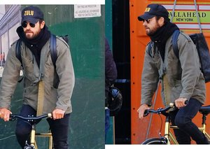 Justin Theroux even makes riding a bike look cool