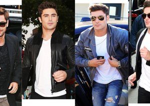 Zac Efron frickin' loves bomber jackets and sunglasses
