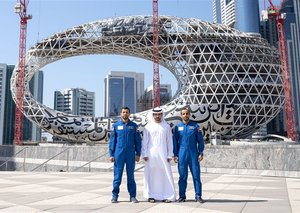 Sheikh Hamdan meets UAE astronauts outside Museum of the Future
