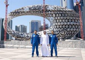 Sheikh Hamdan meets UAE astronauts outside Museum of the Future