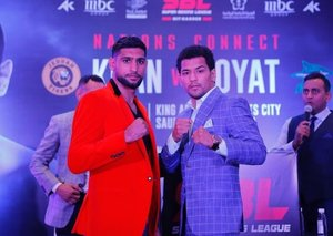 Britain's Amir Khan will fight Indian boxer Neeraj Goyat in Saudi Arabia