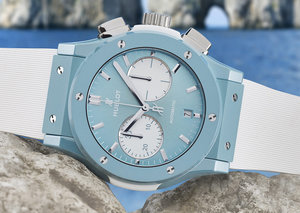 Hublot's sky blue ceramic watch is seriously summery