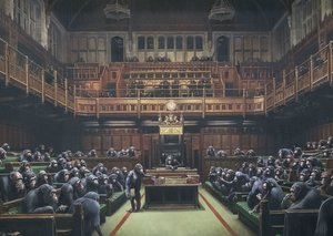 Banksy's 'Chimps in Parliament' painting to go up for auction before Brexit