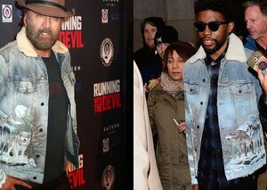 This wolf-covered, airbrushed denim jacket has Chadwick Boseman and Nic Cage's endorsement