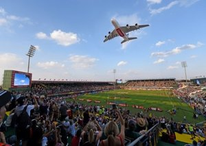 Photos: A380 flypasts as airline celebrates 50 years of Dubai Rugby Sevens