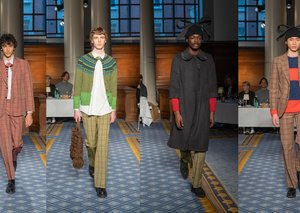 British brand Molly Goddard showed menswear on the catwalk for the first time