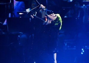 Billie Eilish performs the new James Bond No Time to Die song live at Brit Awards