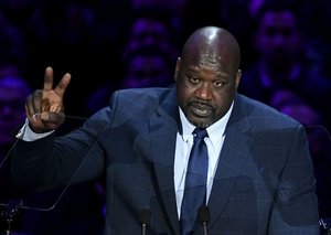 Shaq gave a heartful speech at Kobe and Gigi Bryant's memorial service