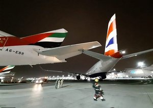 A British Airways plane just collided with an Emirates aircraft in a minor collision in Dubai
