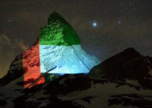 Swiss Matterhorn shines bright with the UAE flag in support of Covid-19 measures
