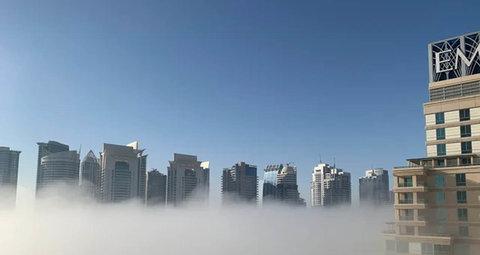 Haze blankets Dubai Marina this morning as country cools down