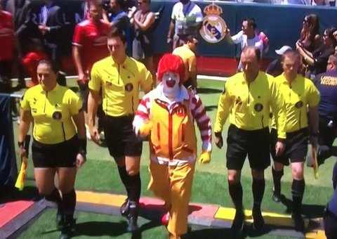 Ronald McDonald led Manchester United out in a pre-season game...