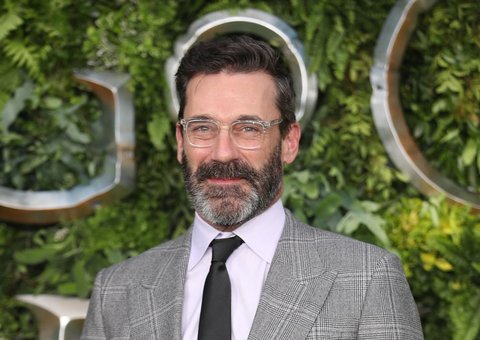 John Hamm goes full professor look at Good Omens premiere