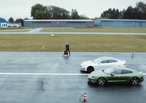 The Porsche Taycan and Telsa Model S had a drag race. Who won?
