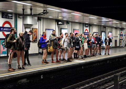 Hundreds of Londoners ditch pants for annual no trousers tube ride
