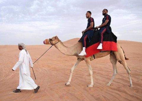 PHOTOS: Arsenal football team have a spot of fun in the Dubai desert