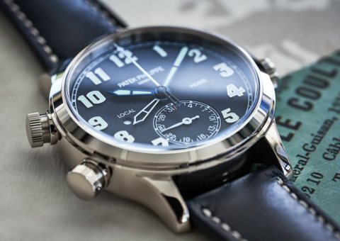 We got first dibs on Patek's Ref. 7234G-001 Calatrava Pilot watch