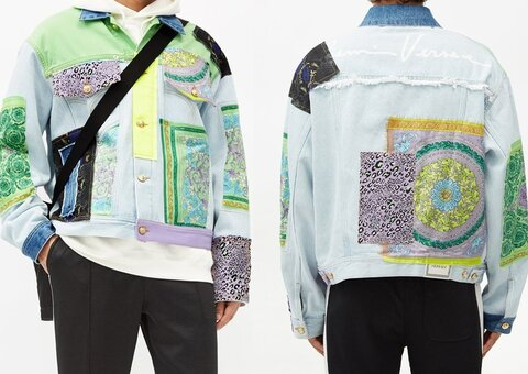 Versace's take on the denim jacket is a patchwork of quality
