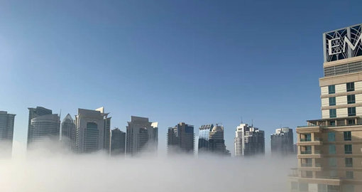 Haze blankets Dubai Marina this morning as country cools down