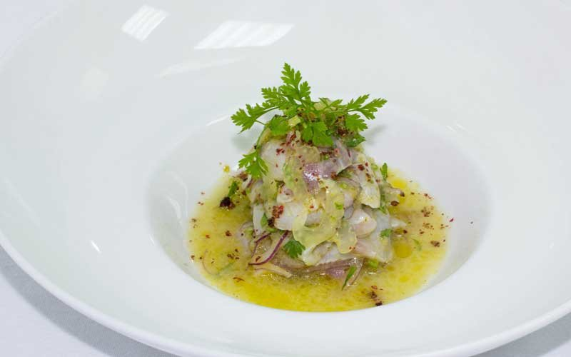 Sea bream marinated in lime, red onion and coriander