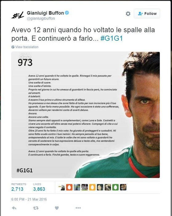 Buffon, Football, Gianluigi Buffon, Gigi Buffon, Italy, Juventus, Open Letter, Poem, Soccer, Sport, World Cup