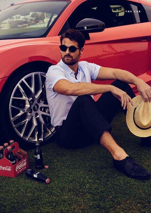Shirt, Dhs1,450, Brioni; trousers, Dhs1,999, Salvatore Ferragamo; shoes, Dhs4,410, Santoni; sunglasses, Dhs1,100, Persol;  hat, stylists own.