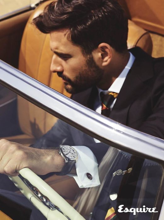 Drive de Cartier watch, Dhs21,900, Cartier;  Cufflinks, Dhs2,910, Cartier; sports jacket, Dhs5,885, shirt, Dhs890, and tie, Dhs650, all dunhill.