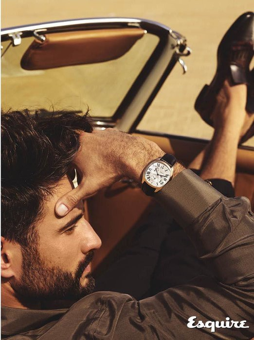 Drive de Cartier watch small complications, Dhs80,000, Cartier, shirt, Dhs1,800, Versace; trousers, Dhs1,190, Salvatore Ferragamo.