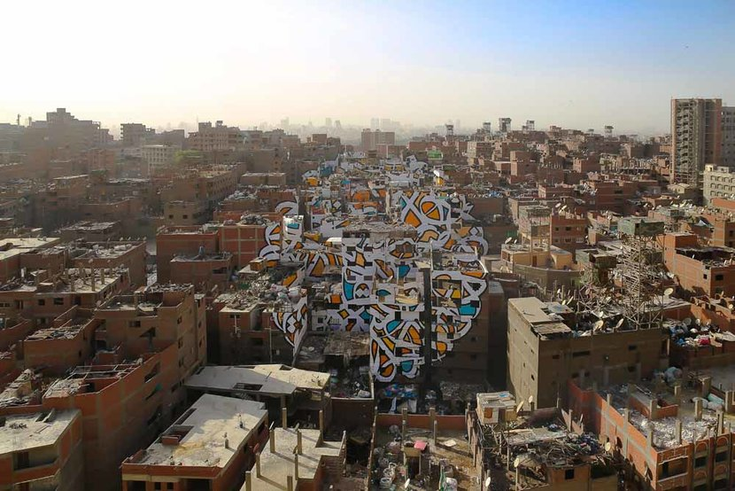 The finished mural as seen from Mokattam Mountain