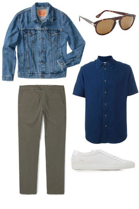 SLIGHTLY CASUAL -  To relax things just a bit, ditch the dressy accoutrements for a more minimal, sportswear-inspired look. You'll still want to keep things clean—note the minimal sneakers—but feel free to go with a short-sleeve shirt and a pair of chinos. A great pair of sunglasses can't hurt, either.