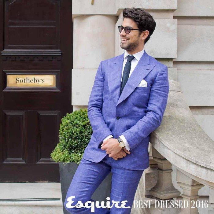 Linen suit, tailor made; silk tie, Hermes;  Kilim loafers, Arthur sleep; sunglasses, Steven Allen, watch, Breguet 1980s gold watch.  Shot at Sotheby's London by Ben Sage (bensagephotography.com)