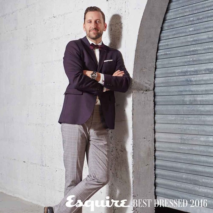 Blazer, trousers and tie, Ted Baker; shirt, The Kooples; shoes, Steve Madden; watch, Boss. Shot by Ausra Osipaviciute at at Industrial Avenue, Westin Dubai