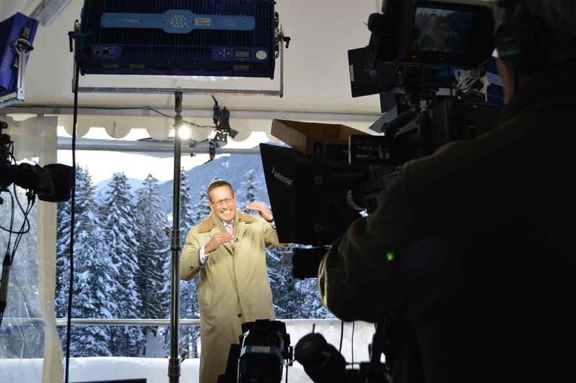 Richard Quest reporting from Davos