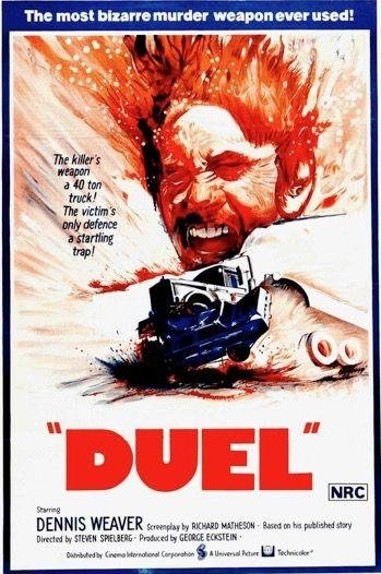 DUEL (1971)   -   Shot for US TV by Spielberg aged 25, this monster truck movie — ie, a monster movie with a lorry as the unceasing beast — was fleshed out for its cinema release.