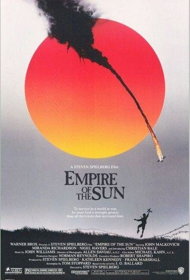 EMPIRE OF THE SUN (1985)  -  Welsh rookie Christian Bale (what happened to him?) is terrific as a boy adrift in Japanese-occupied WWII Shanghai. Spielberg's most underrated film.