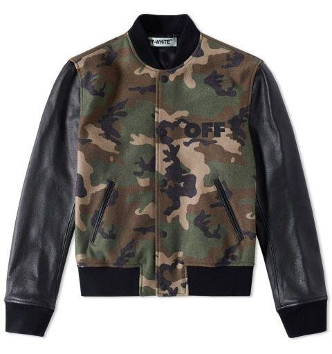 OFF-WHITE - CAMOUFLAGE LEATHER BOMBER JACKET  Street style peacocks take note: This is your official uniform for the fall. If you don't think the Virgil Abloh design will give you the appropriate street cred, then certainly the camo print and trademark diagonals will push you over the edge. Dhs4,984. endclothing.com