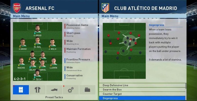 Adaptive AI lets your virtual opponent analyse your play style and learn the most effective way to counter recurring patterns in your offensive or defensive play, while better team tactics allow the player more control on the pace of the game and make a well executed counterattack feel more rewarding.