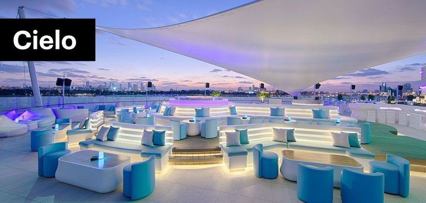 Cielo Sky Lounge, Dubai Creek Golf Club  -  With its minimalist white décor, central DJ booth and tendency to host parties into the early morning, there is something very 'Mykonos' about Cielo. Although, rather than be perched on the beach front, it is tucked away in the Dubai Creek Golf Club, meaning it's not a place people stumble upon.