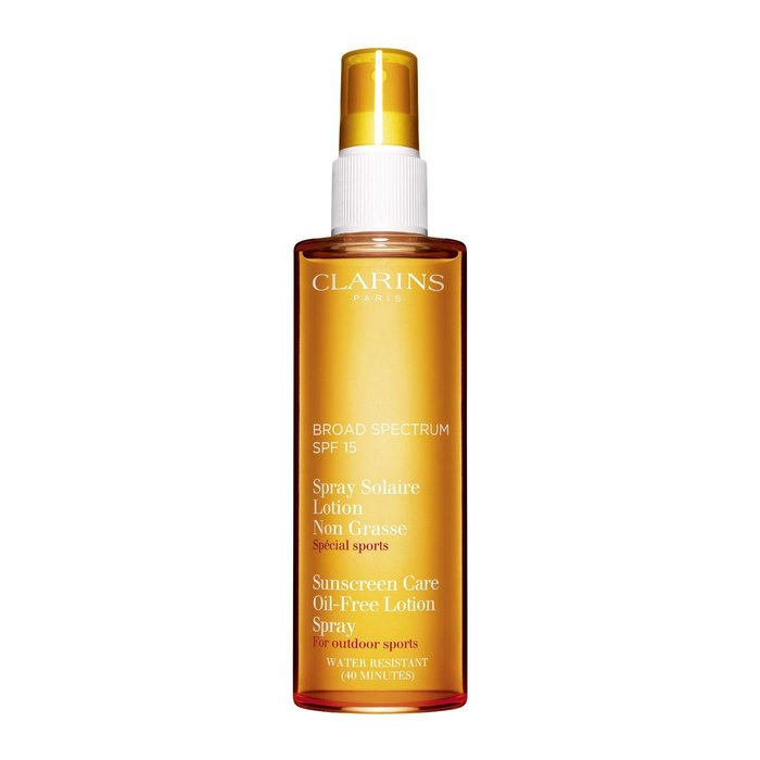 For a full day outside, there's the Clarins SPF 15 Oil-Free lotion spray (Dhs132; clarinsusa.com), which, since it's a spray saves you from soliciting the assistance of a stranger on a solo excursion.
