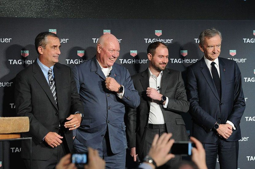 From left to right, Brian Krzanich, Jean-Claude Biver, David Singleton and Bernard Arnault attend the TAG Heuer Connected Watch event on November 9, 2015 in New York City