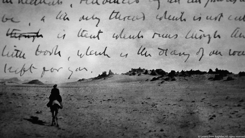 The writings of Gertrude Bell, over a photograph taken by Bell, © Gertrude Bell Archives, Newcastle University.