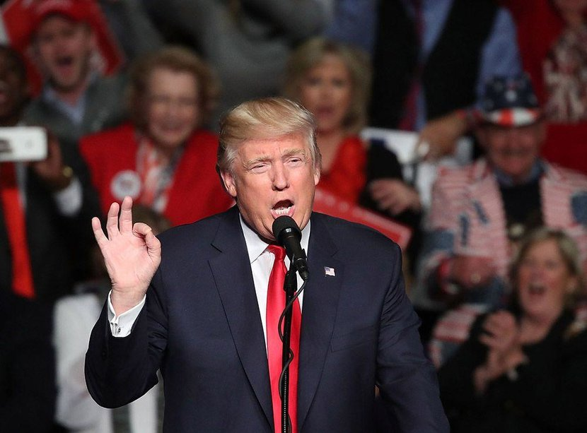 HERSHEY PA  DECEMBER 15  US Presidentelect Donald Trump speaks to supporters during a rally at the Giant Center December 15 2016 in Hershey Pennsylvania Presidentelect Trump has been visiting several states that he won to thank people for their support in the US election  Photo by Mark WilsonGetty Images