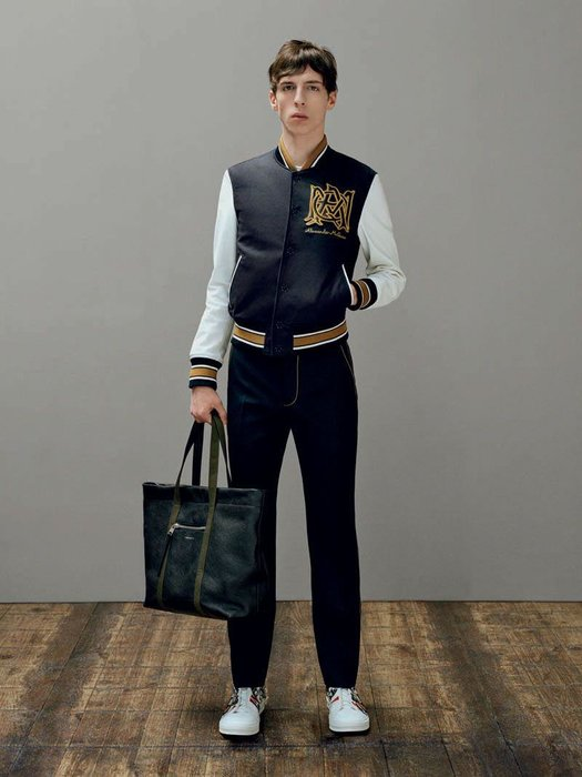 2. '60s college style - Varsity bombers in wool and silk are reinterpreted with the skull embroidery and the McQueen emblem.